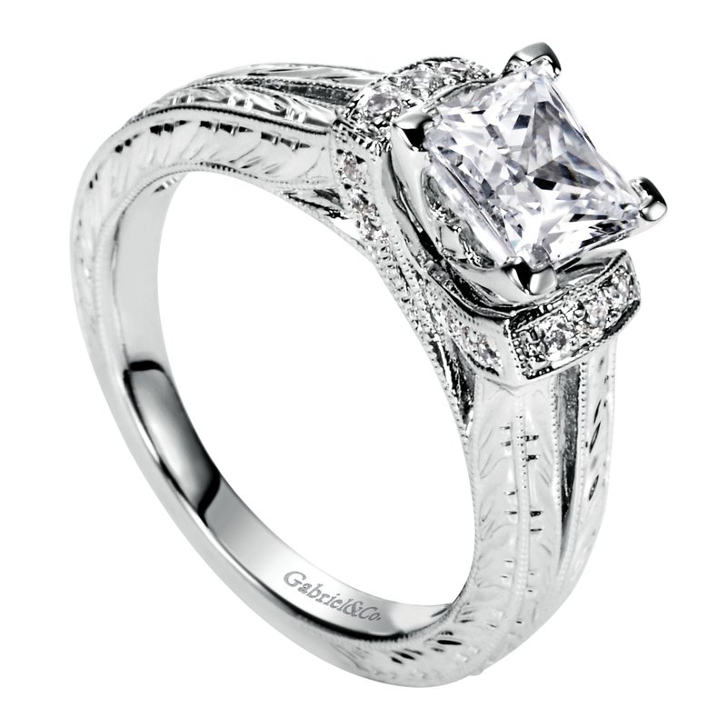 Gabriel & Co. -  IN-STORE COLLECTION 14K White Gold Princess Cut Diamond Engagement Ring