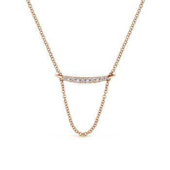 14k Rose Diamond Fashion Bar Necklace