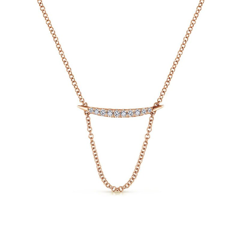 Gabriel & Co. -  IN-STORE COLLECTION 14k Rose Diamond Fashion Bar Necklace