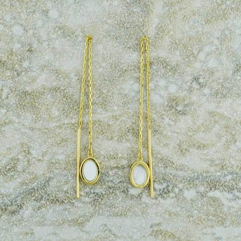14K Yellow Gold Mother of Pearl Threader Earrings