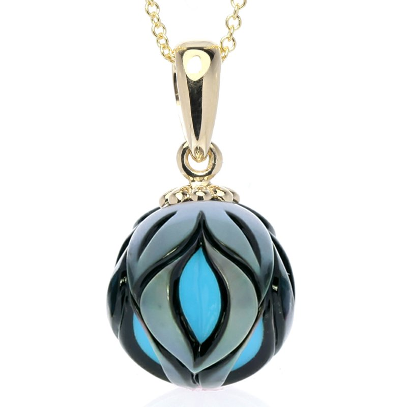 Galatea Carved Black Sea Pearl with Turquoise Center