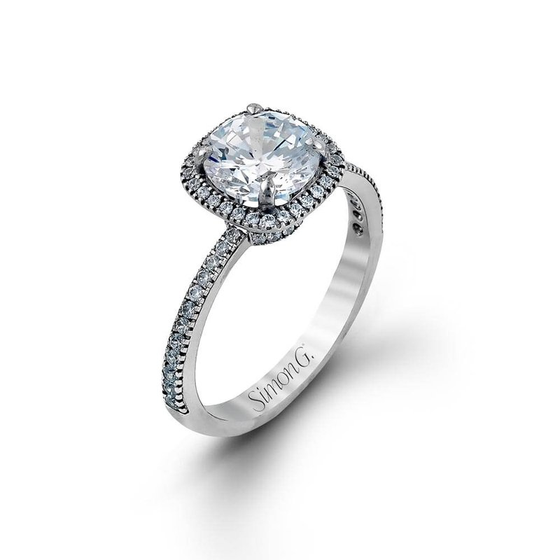 Simon G IN-STORE COLLECTION White Gold Diamond Halo Engagement Ring