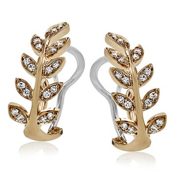 Rose and White Gold Diamond Leaf Omega Back Earrings