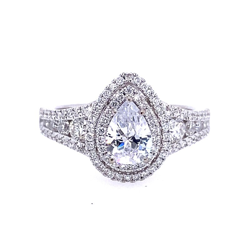 Simon G IN-STORE COLLECTION White Gold Pear Shaped Diamond Engagement Ring