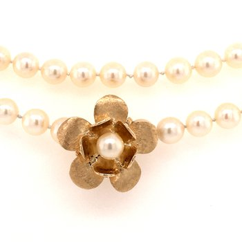 Pearl Necklace with Floral shortener