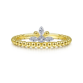Beaded Crown Diamond Ring