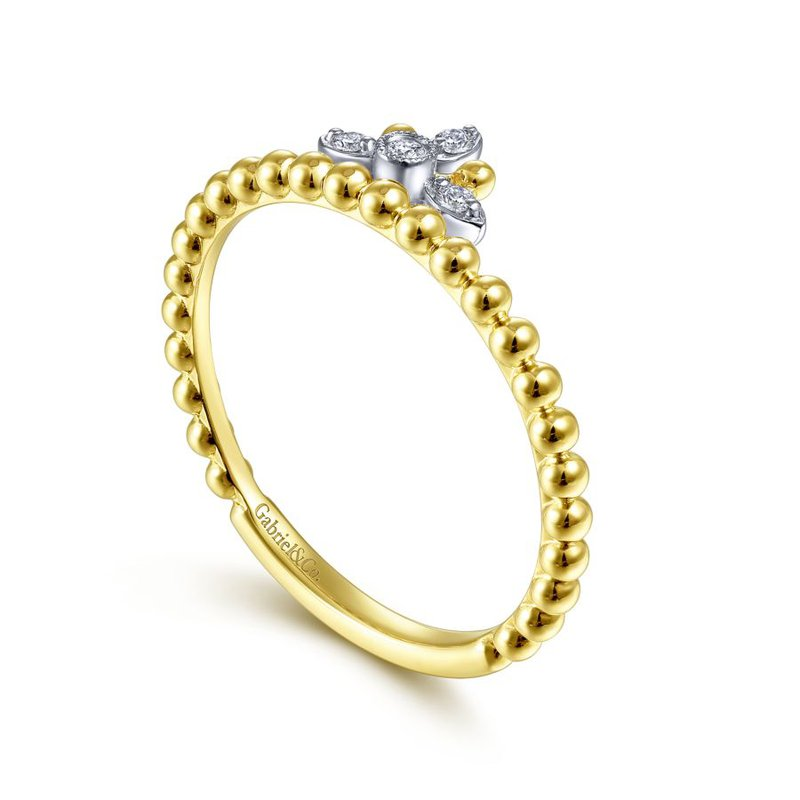 Gabriel & Co. -  IN-STORE COLLECTION Beaded Crown Diamond Ring