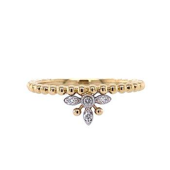 Beaded Crown Diamond Ring
