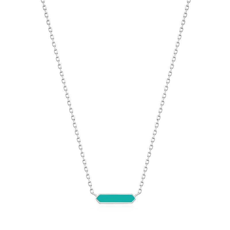 Ania Haie Teal Enamel Bar Necklace