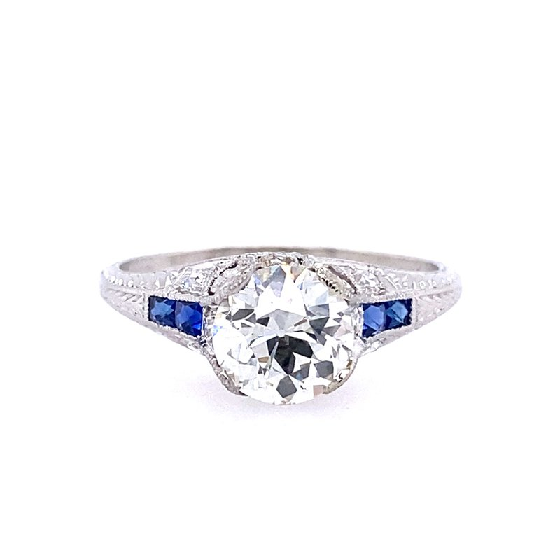 B&C Estate Collection Sapphire and Diamond Engagement Ring