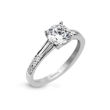 White Gold Baguette and Round Diamond Engagment Ring