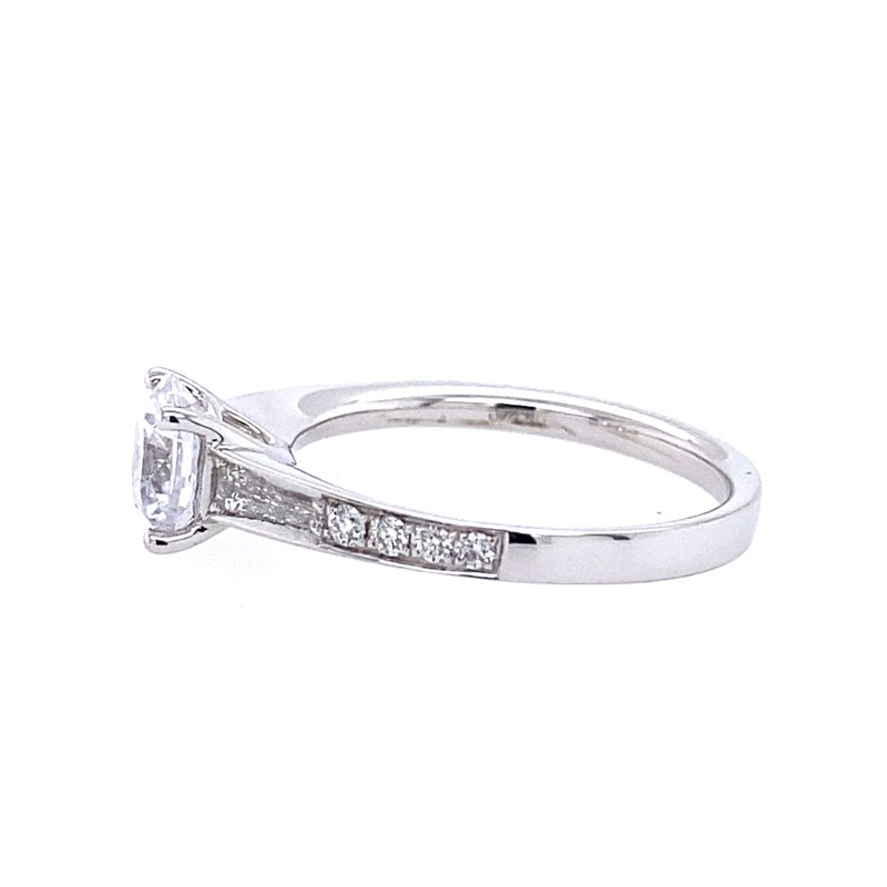 Simon G IN-STORE COLLECTION White Gold Baguette and Round Diamond Engagment Ring