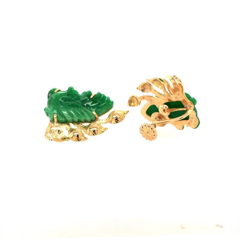 B&C Estate Collection Plumage Carved Jade Earrings