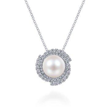 Diamond Swirl and Pearl Pendant