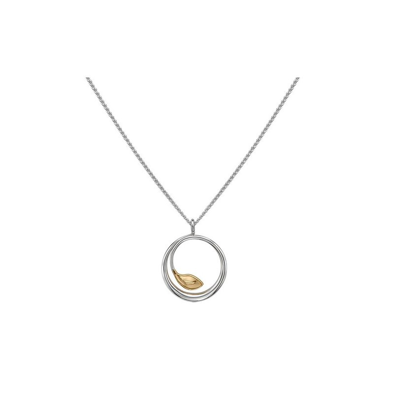E. L. Designs IN-STORE Collection S/S and 14K Yellow Gold Leaf Pendant