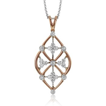 White and Rose Gold Trellis Style Diamond Pendant