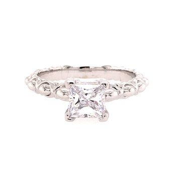 Scalloped Princess Cut Engagement Ring