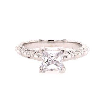 Scalloped Princess Cut Engagement Ring