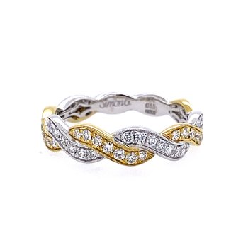 White and Yellow Gold Twist Style Diamond Band