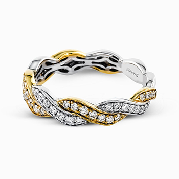 White and Yellow Gold Twist Style Diamond Band