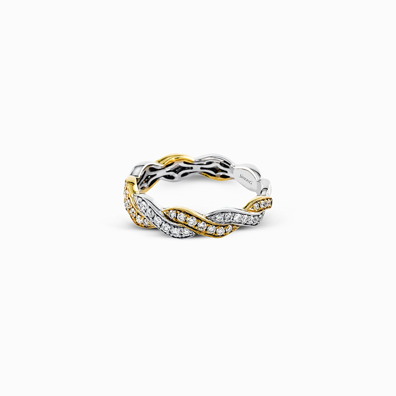Simon G IN-STORE COLLECTION White and Yellow Gold Twist Style Diamond Band