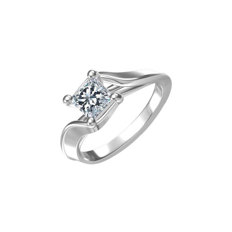 B&C Collections Princess Cut Solitaire Engagement Ring