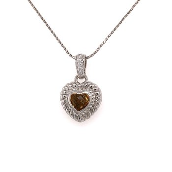 Citrine Heart Pendant with Chain