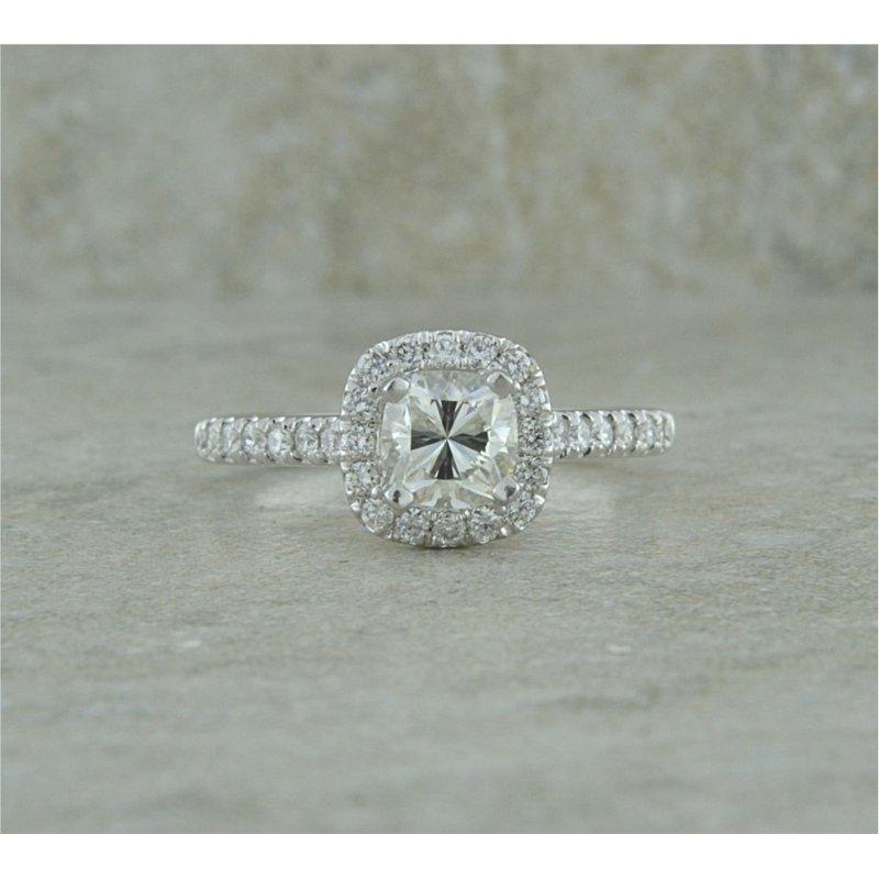 B&C Creations Platinum Halo Engagement Ring