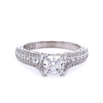 White Gold Princess Cut and Round Diamond Engagement Style Ring