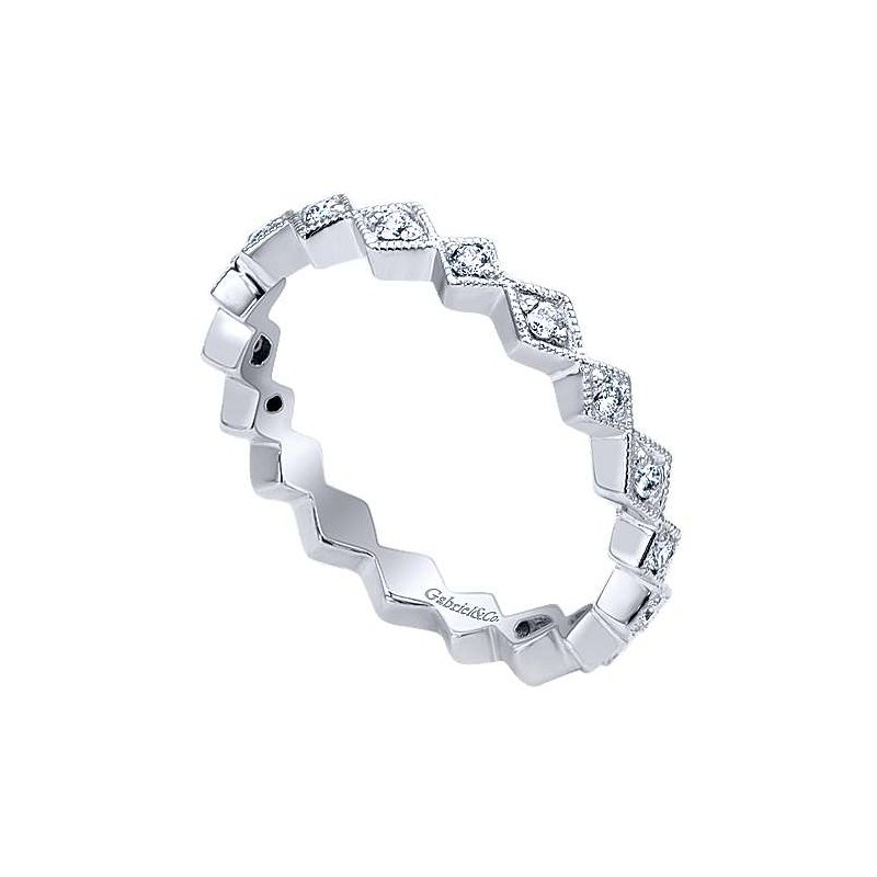Gabriel & Co. -  IN-STORE COLLECTION Diamond Geometric Stackable Bamd