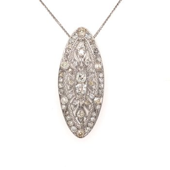 Large Vintage Diamond Pendant Brooch