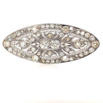 Large Vintage Diamond Pendant Brooch