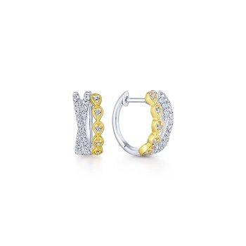 10MM Criss Cross Diamond Huggies