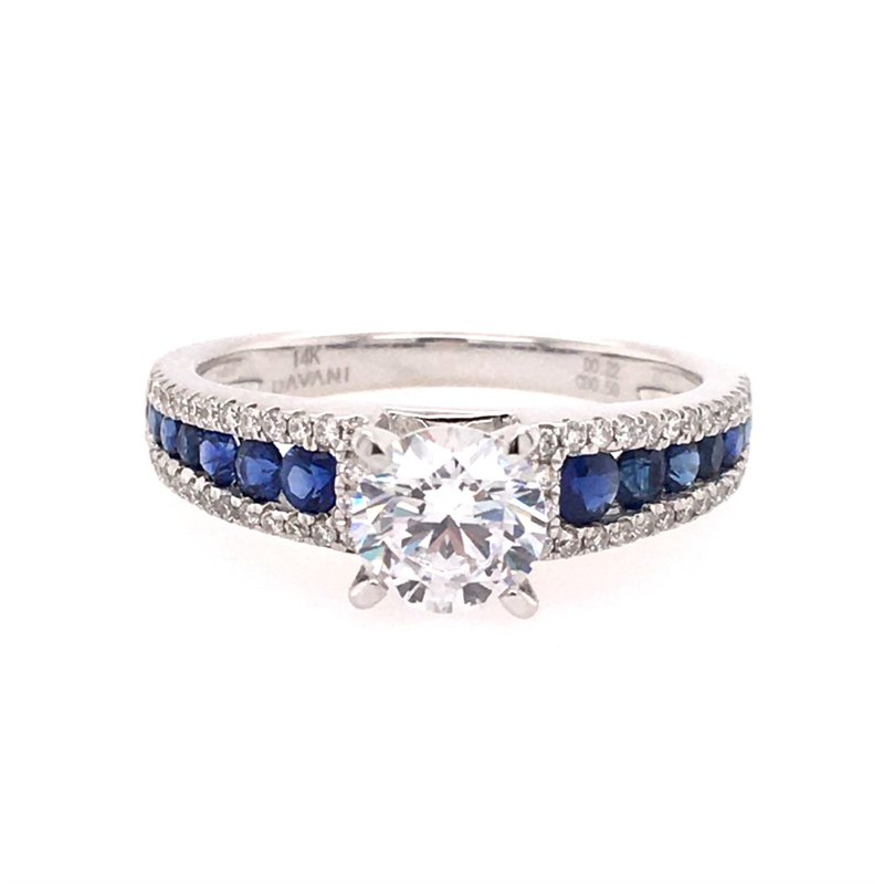 B&C Collections White Gold Diamond and Sapphire Engagement Style Ring
