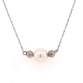Single Pearl and White Gold Starter Necklace