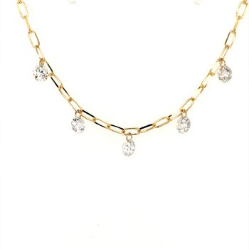 Diamond Dash Fancy Link Chain Necklace