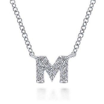 "Diamond Initial ""M"" Necklace"
