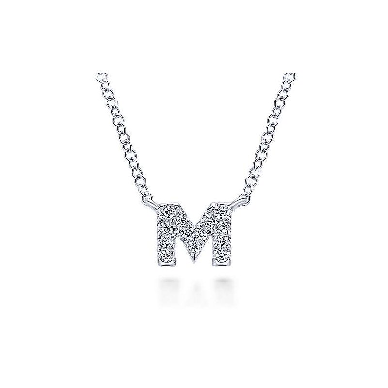 """Gabriel & Co. -  IN-STORE COLLECTION Diamond Initial """"M"""" Necklace"""