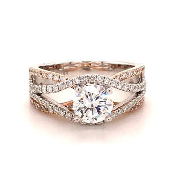 Diamond Crossover Engagement Ring
