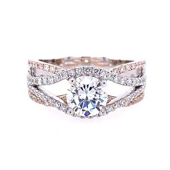 Diamond Crossover Engagement Ring