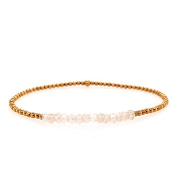 2mm Yellow Gold Filled and White Topaz Bead Bracelet