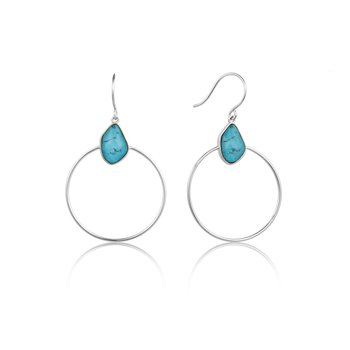 Turquoise Front Facing Hoops