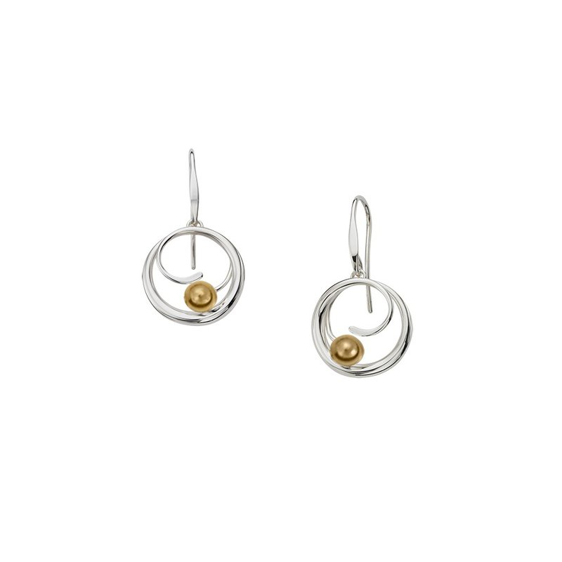 E. L. Designs IN-STORE Collection S/S Bindu Dangle Earrings with Yellow Gold Ball