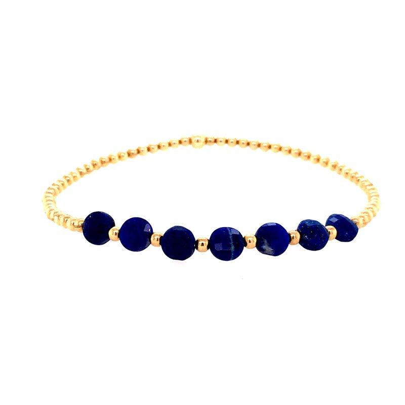 Karen Lazar Stretch 2 mm Yellow Gold Filled and Lapis Disc Bead Bracelet