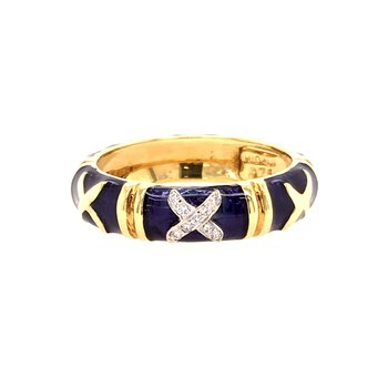 Enamel and Diamond Band
