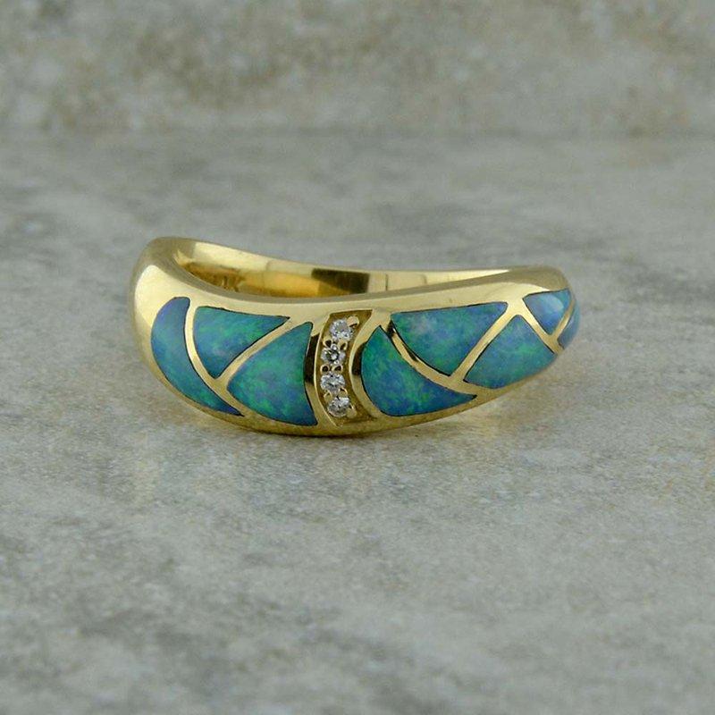 Kabana Opal & Diamond Inlay Ring