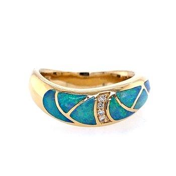 Opal & Diamond Inlay Ring
