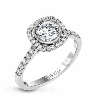 Bezel Set Round Diamond Halo Style Engagement Ring