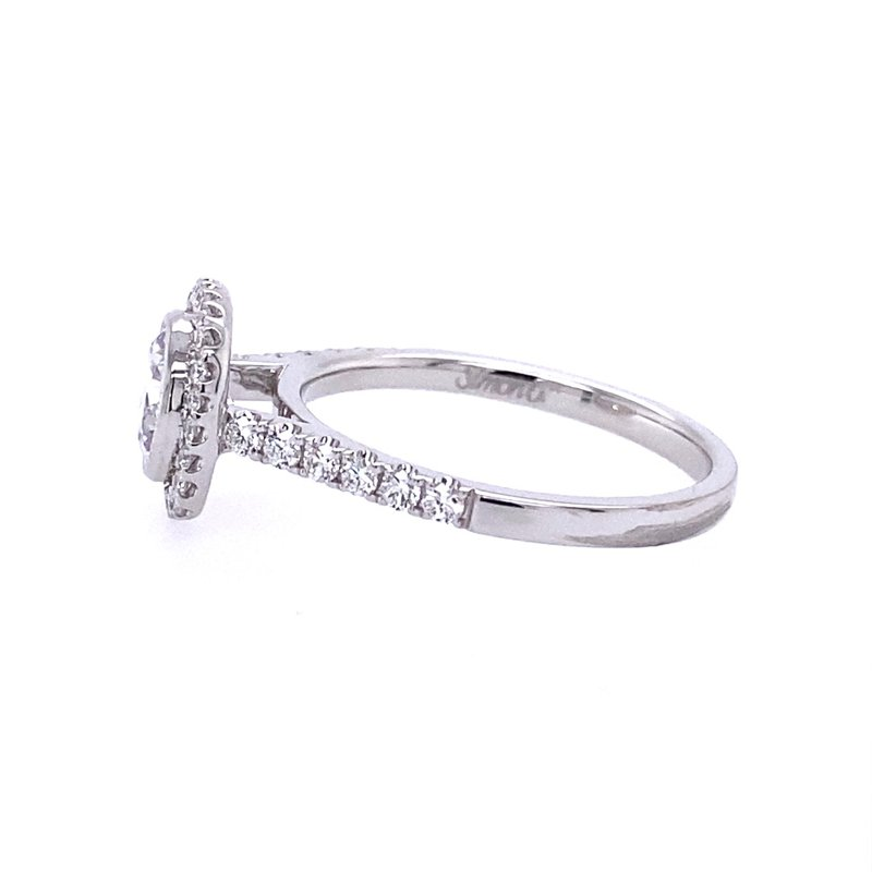Simon G IN-STORE COLLECTION Bezel Set Round Diamond Halo Style Engagement Ring