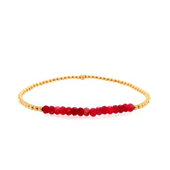 2mm Yellow Gold Filled and Ruby Bead Bracelet